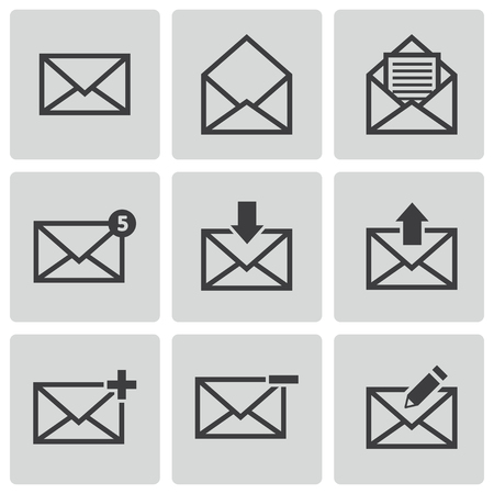 Vector black email icons set Vector