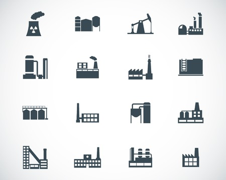 manufacturing plant: Vector black factory icons set