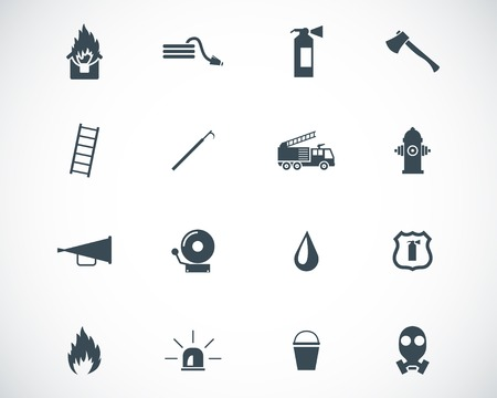 fire truck: Vector black  firefighter icons set Illustration