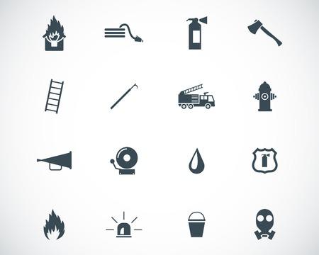 camion de bomberos: Vector iconos negros del bombero establecen Vectores