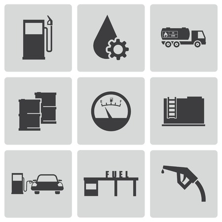 refueling: Vector black gas station icons set