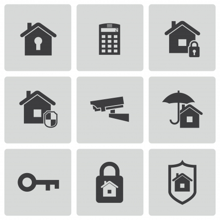 guard house: Vector black home security icons set