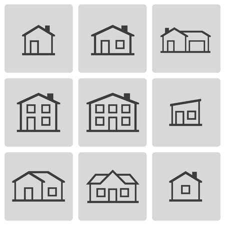Vector black houses icons set Stock Vector - 23398611