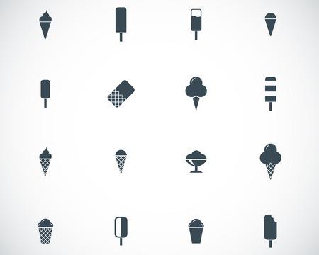 frozen food: Vector black ice cream icons set Illustration