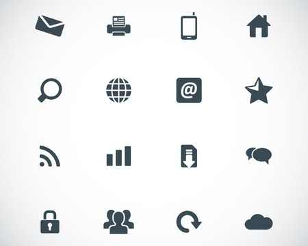 mobile home: Vector black internet icons set