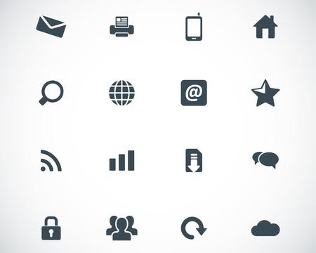 laptop home: Vector black internet icons set
