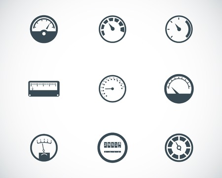 velocímetro: Negro iconos metros vector fijados
