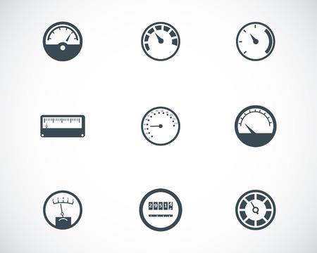speedometer: Vector black meter icons set