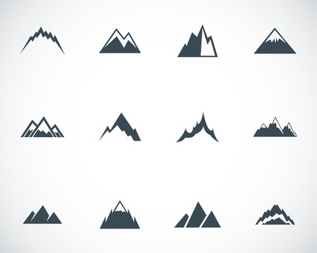 snow capped: Vector black mountains icons set