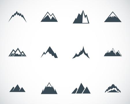 Vector zwarte bergen iconen set Stock Illustratie