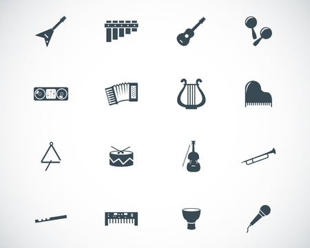 Vector black music instruments icons set Vector