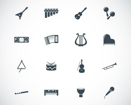 pandero: Vector negro instrumentos musicales iconos conjunto