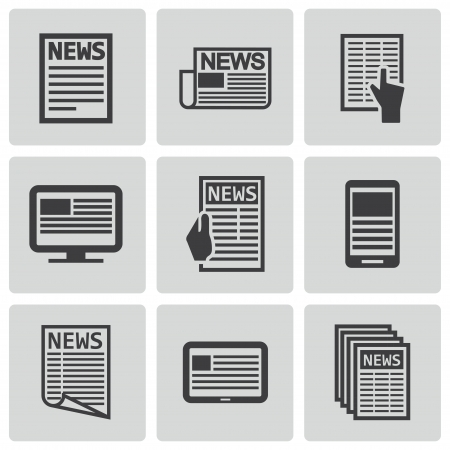 daily newspaper: Vector black newspaper icons set