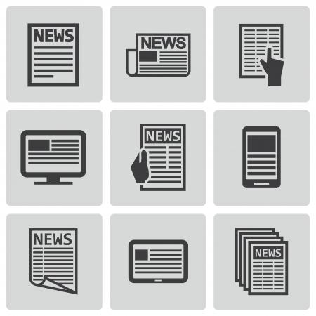 Vector black newspaper icons set Stock Vector - 23398646