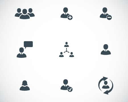 group of elements: Vector black office people icons set