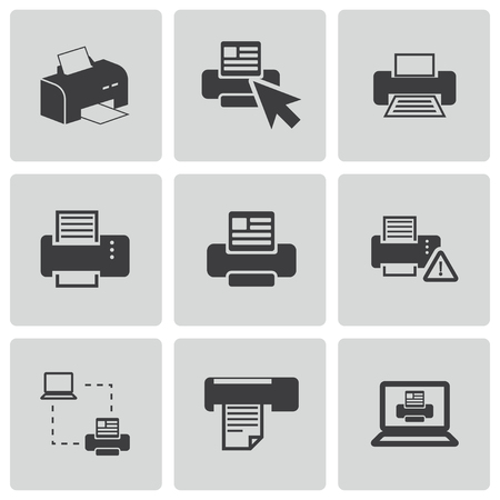 balck: Vector balck printer icons set