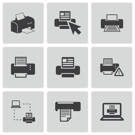 copy machine: Vector balck printer icons set