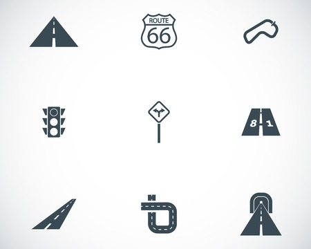 winding: Vector black road icons set Illustration
