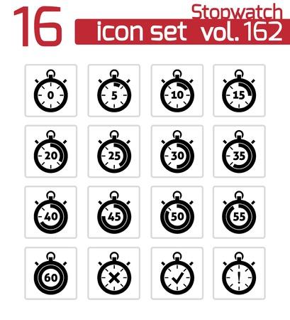 around the clock: Vector black stopwatch icons set