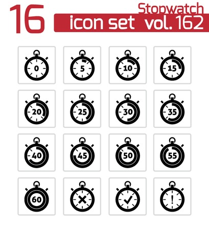 Vector black stopwatch icons set