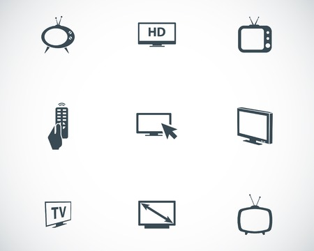flat screen tv: Vector black TV icons set