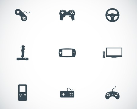handheld device: Vector black video game icons set