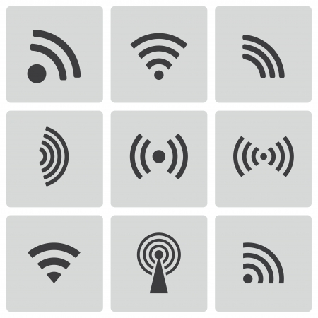 wi fi icon: Vector black wireless icons set