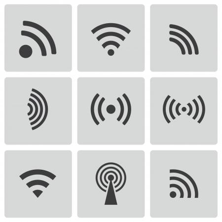 wireless: Vector black wireless icons set