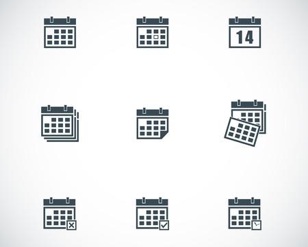 Vector black calendar icons set Illustration