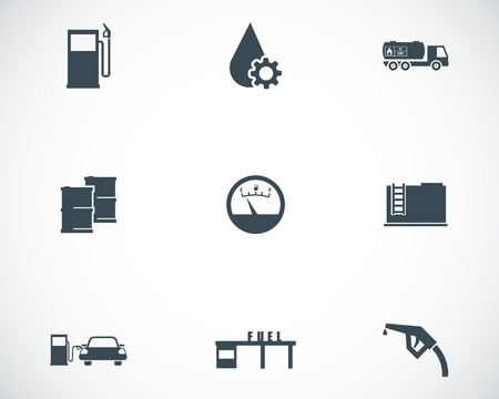 Vector black gas station icons set Stock Vector - 23646018