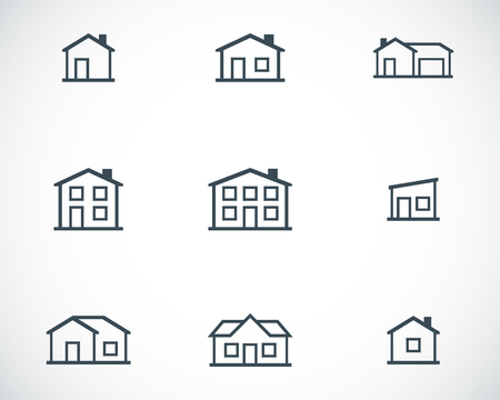 Vector black houses icons set Stock Vector - 23646017