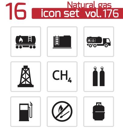Vector black natural gas icons set
