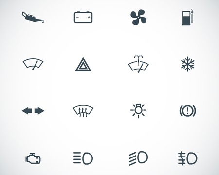 balck: Vector balck car dashboard icons set