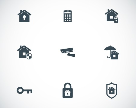 alarm system: Vector black home security icons set