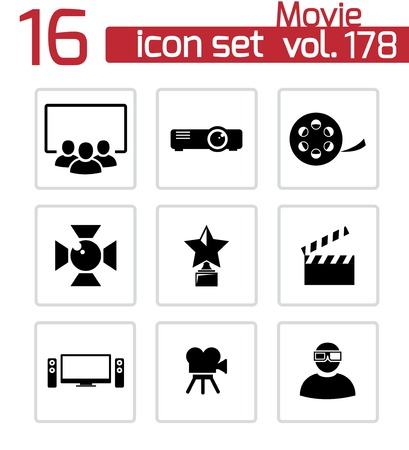 Vector black movie icons set Vector Illustration