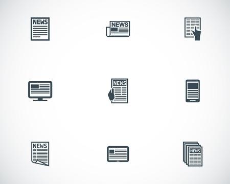 Vector black newspaper icons set Stock Vector - 23647513