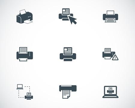 balck: Vector balck printer icons set