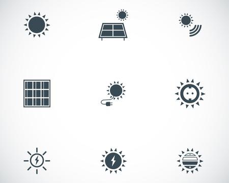 photovoltaic panel: Vector black solar energy icons set Illustration