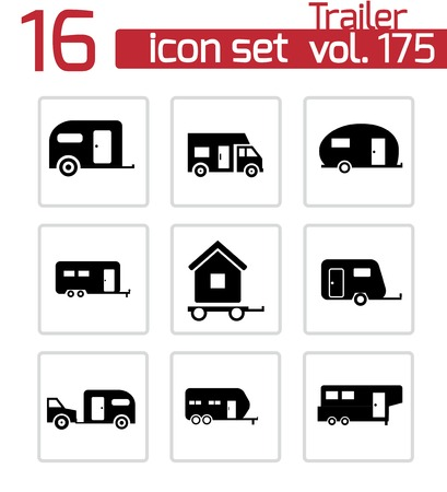 recreational vehicle: Vector black trailer icons set