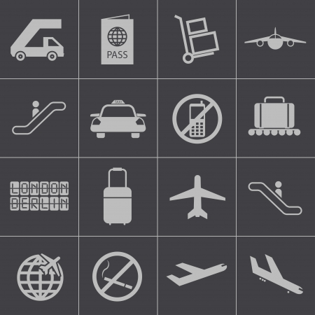 airport lounge: Vector black airport icons set Illustration