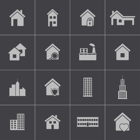Vector black building icons set Stock Vector - 24232380