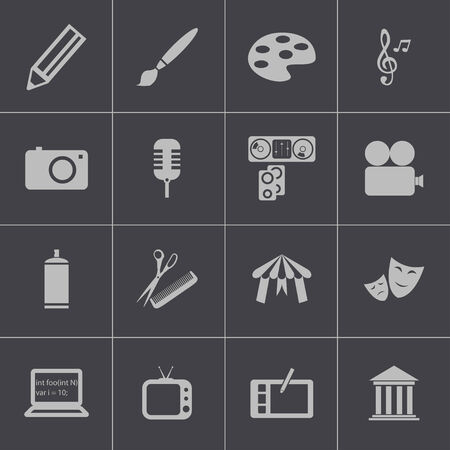 calling art: Vector black art icons set