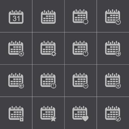 ring binder: Vector black calendar icons set Illustration