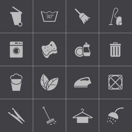 cleaning products: Vector black  cleaning icons set