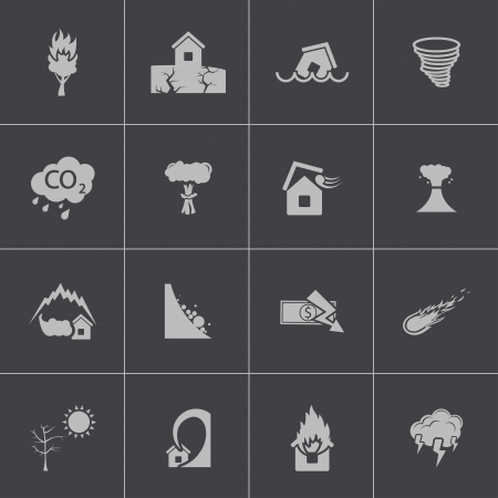 Vector black  disaster icons set Stock Vector - 24290860
