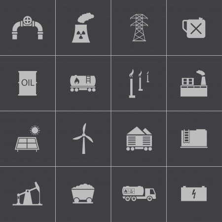 Vector black  industry icons set Stock Vector - 24290862