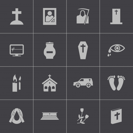 burning money: Vector black  funeral icons set Illustration