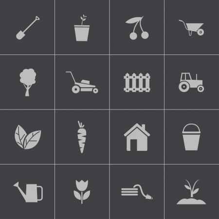 sprinkler: Vector black  gardening icons set