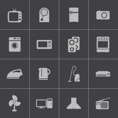 vacuum cleaner: Vector black  home icons set