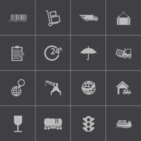 Vector black  logistic icons set Vector